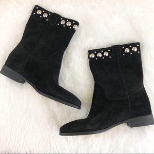 Michael Kors Hayes Sphere Stud Suede Ankle Boot